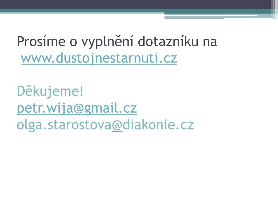 Prosíme o vyplnění dotazníku na www.dustojnestarnuti.cz Děkujeme! petr.wija@gmail.cz olga.starostova@diakonie.czwww.dustojnestarnuti.cz petr.wija@gmai
