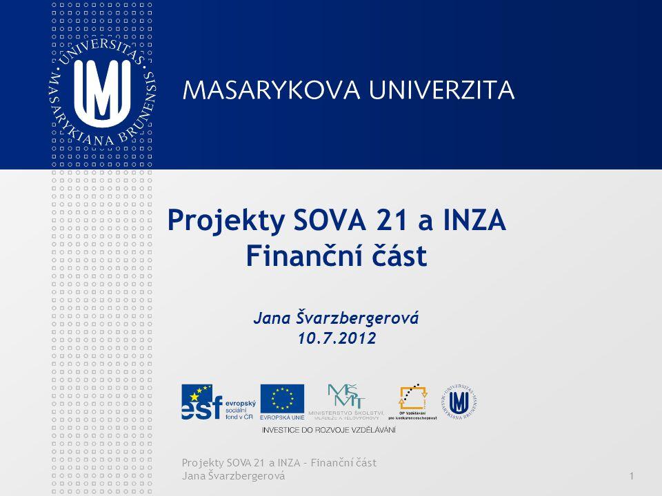 Projekty SOVA 21 a INZA – Finanční část Jana Švarzbergerová1 Projekty SOVA 21 a INZA Finanční část Jana Švarzbergerová 10.7.2012