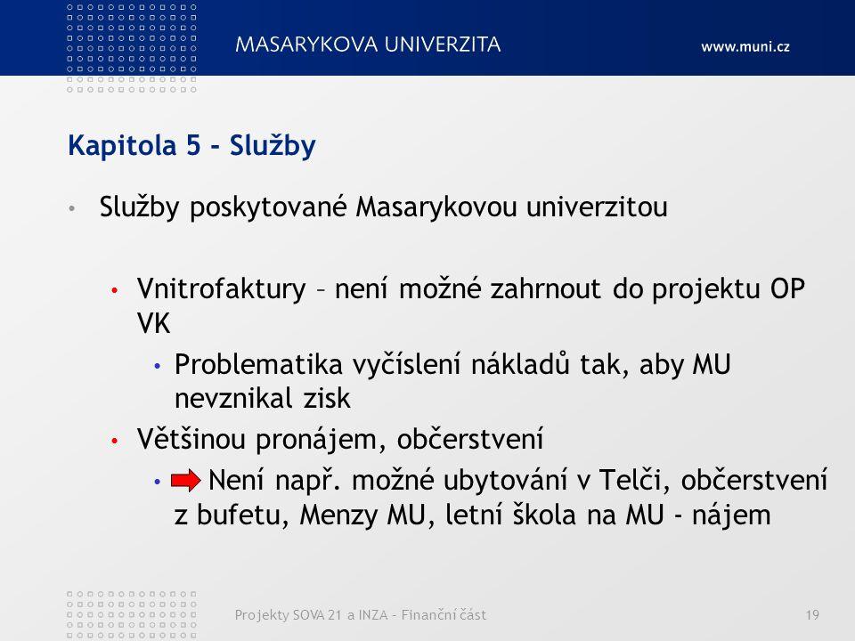 Kapitola 5 - Služby Služby poskytované Masarykovou univerzitou Vnitrofaktury – není možné zahrnout do projektu OP VK Problematika vyčíslení nákladů tak, aby MU nevznikal zisk Většinou pronájem, občerstvení -> Není např.