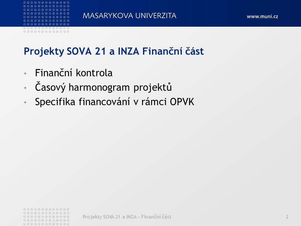 Projekty SOVA 21 a INZA – Finanční část2 Projekty SOVA 21 a INZA Finanční část Finanční kontrola Časový harmonogram projektů Specifika financování v rámci OPVK