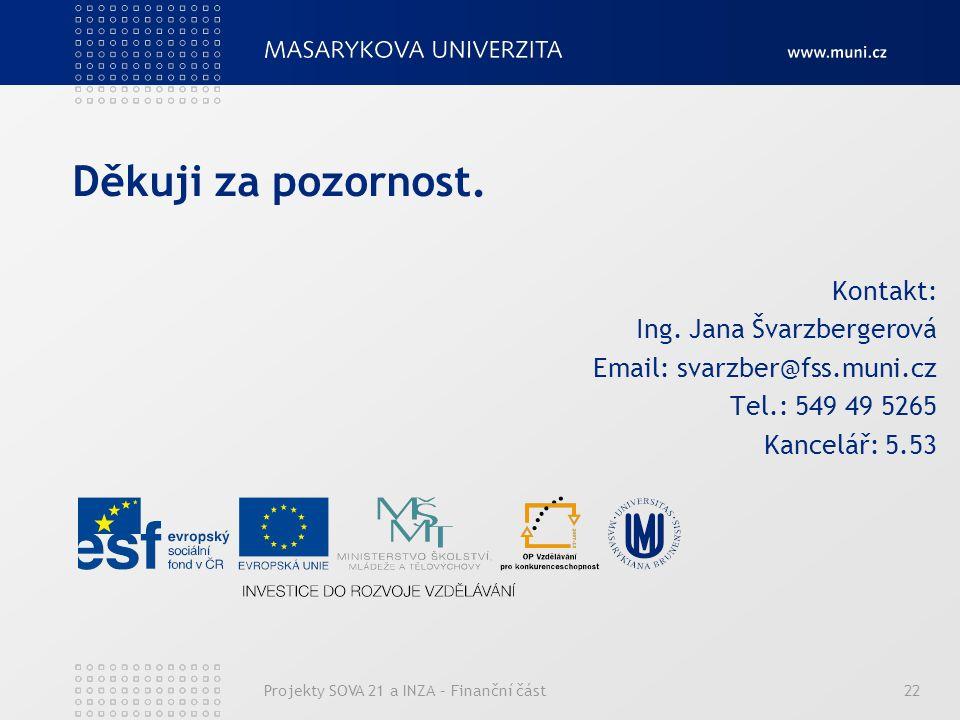 Projekty SOVA 21 a INZA – Finanční část22 Děkuji za pozornost.