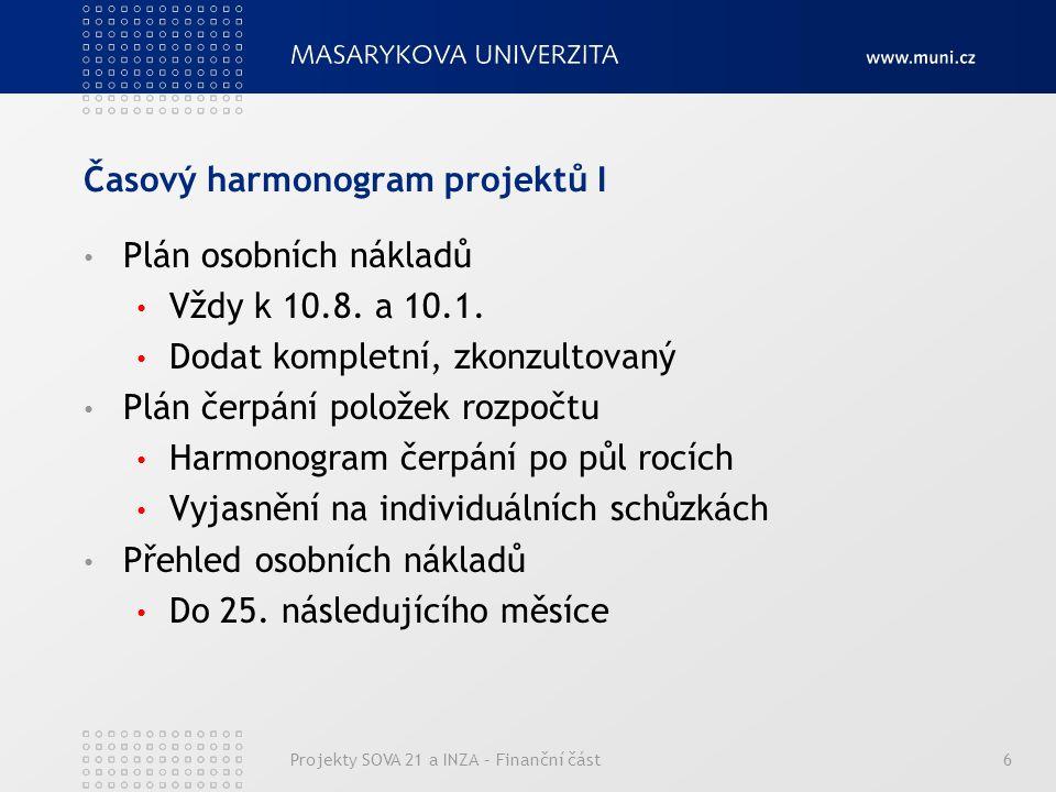 Časový harmonogram projektů I Plán osobních nákladů Vždy k 10.8.