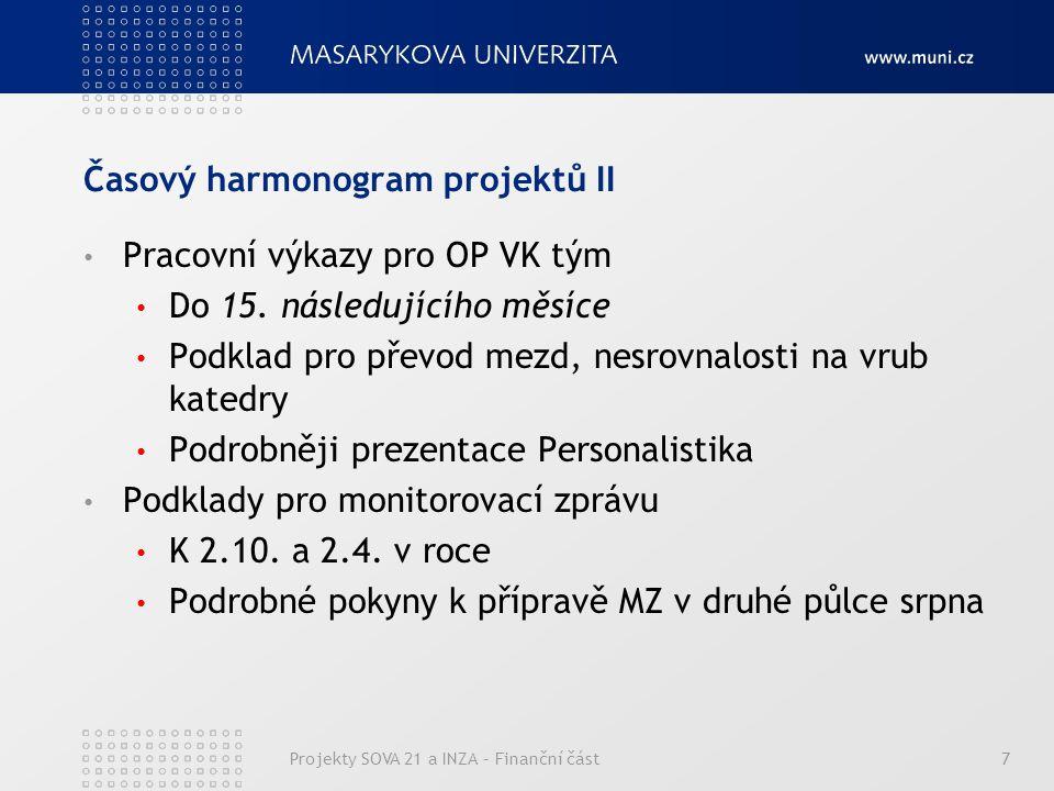 Časový harmonogram projektů II Pracovní výkazy pro OP VK tým Do 15.