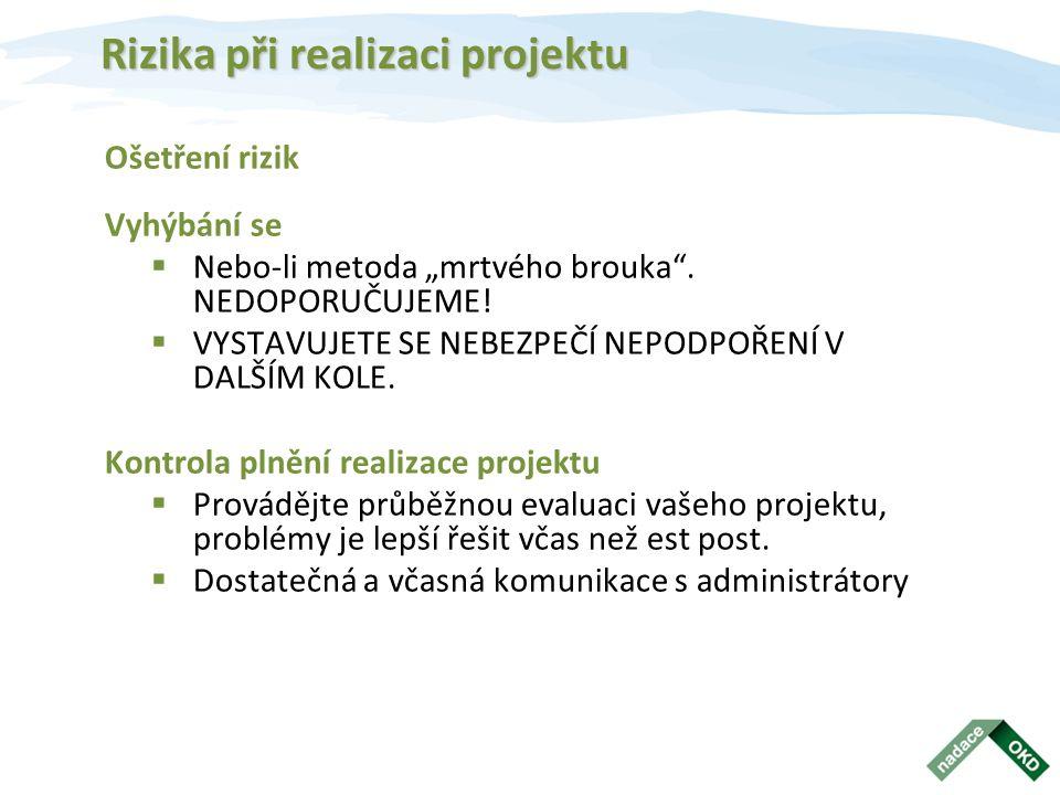 """Rizika při realizaci projektu Ošetření rizik Vyhýbání se  Nebo-li metoda """"mrtvého brouka ."""