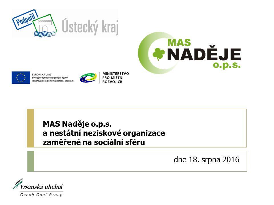 MAS Naděje o.p.s. a nestátní neziskové organizace zaměřené na sociální sféru dne 18. srpna 2016