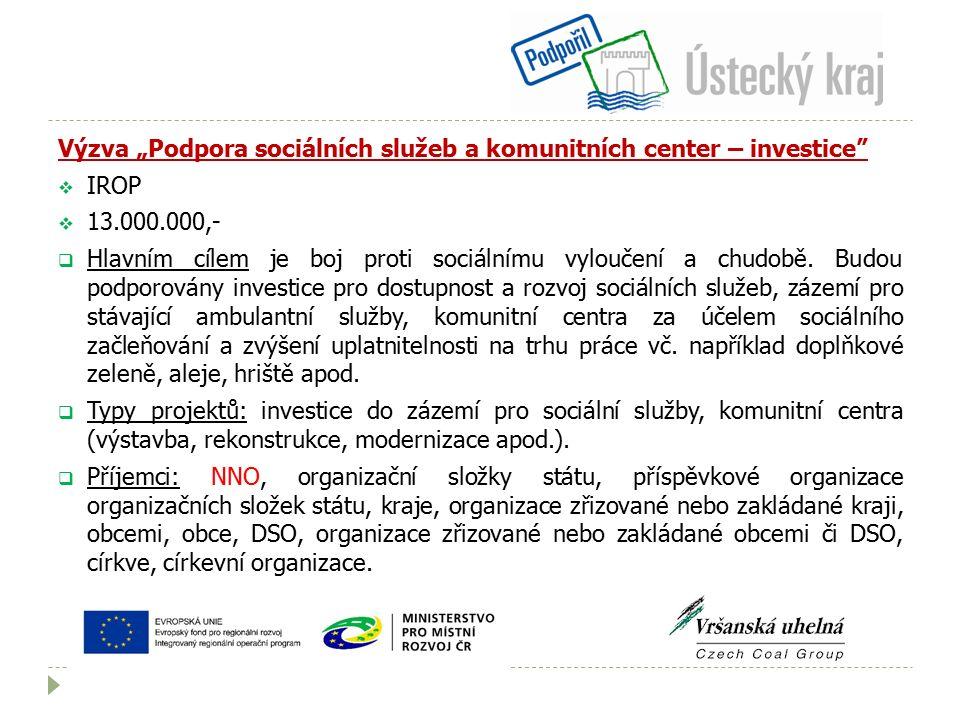 """Výzva """"Podpora sociálních služeb a komunitních center – investice  IROP  13.000.000,-  Hlavním cílem je boj proti sociálnímu vyloučení a chudobě."""