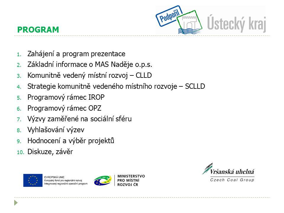 PROGRAM 1. Zahájení a program prezentace 2. Základní informace o MAS Naděje o.p.s.