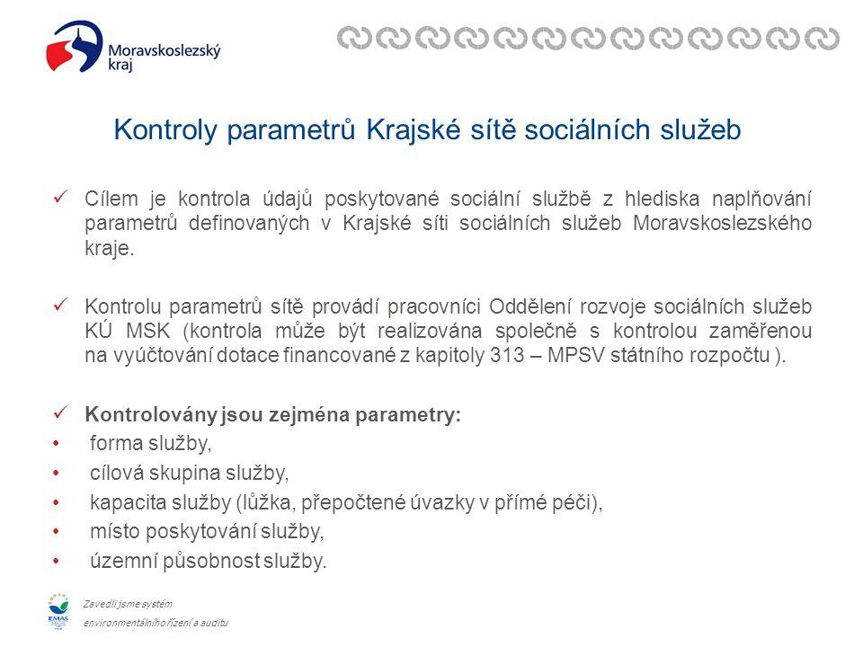 Zavedli jsme systém environmentálního řízení a auditu Kontroly parametrů Krajské sítě sociálních služeb Cílem je kontrola údajů poskytované sociální službě z hlediska naplňování parametrů definovaných v Krajské síti sociálních služeb Moravskoslezského kraje.