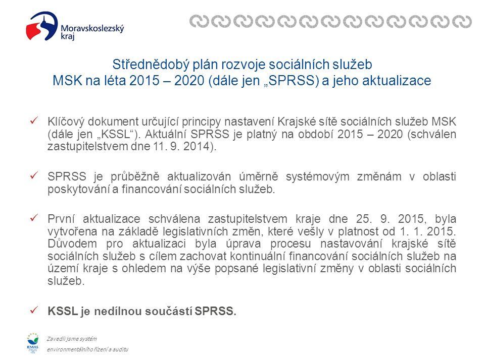 """Zavedli jsme systém environmentálního řízení a auditu Střednědobý plán rozvoje sociálních služeb MSK na léta 2015 – 2020 (dále jen """"SPRSS) a jeho aktualizace Klíčový dokument určující principy nastavení Krajské sítě sociálních služeb MSK (dále jen """"KSSL )."""