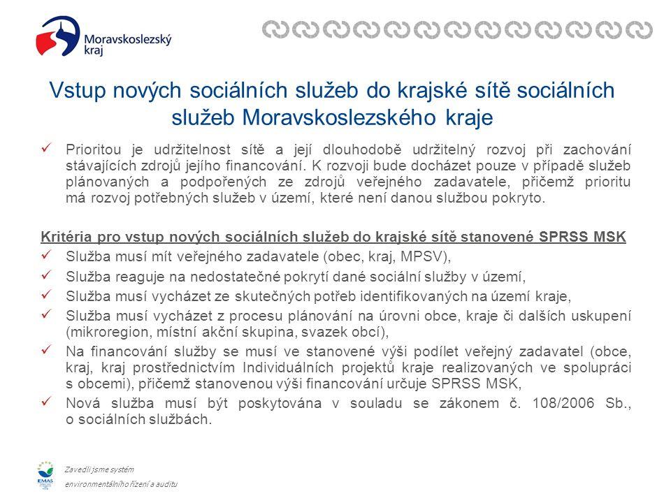 Zavedli jsme systém environmentálního řízení a auditu Vstup nových sociálních služeb do krajské sítě sociálních služeb Moravskoslezského kraje Prioritou je udržitelnost sítě a její dlouhodobě udržitelný rozvoj při zachování stávajících zdrojů jejího financování.