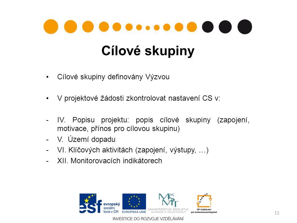 Cílové skupiny Cílové skupiny definovány Výzvou V projektové žádosti zkontrolovat nastavení CS v: -IV.
