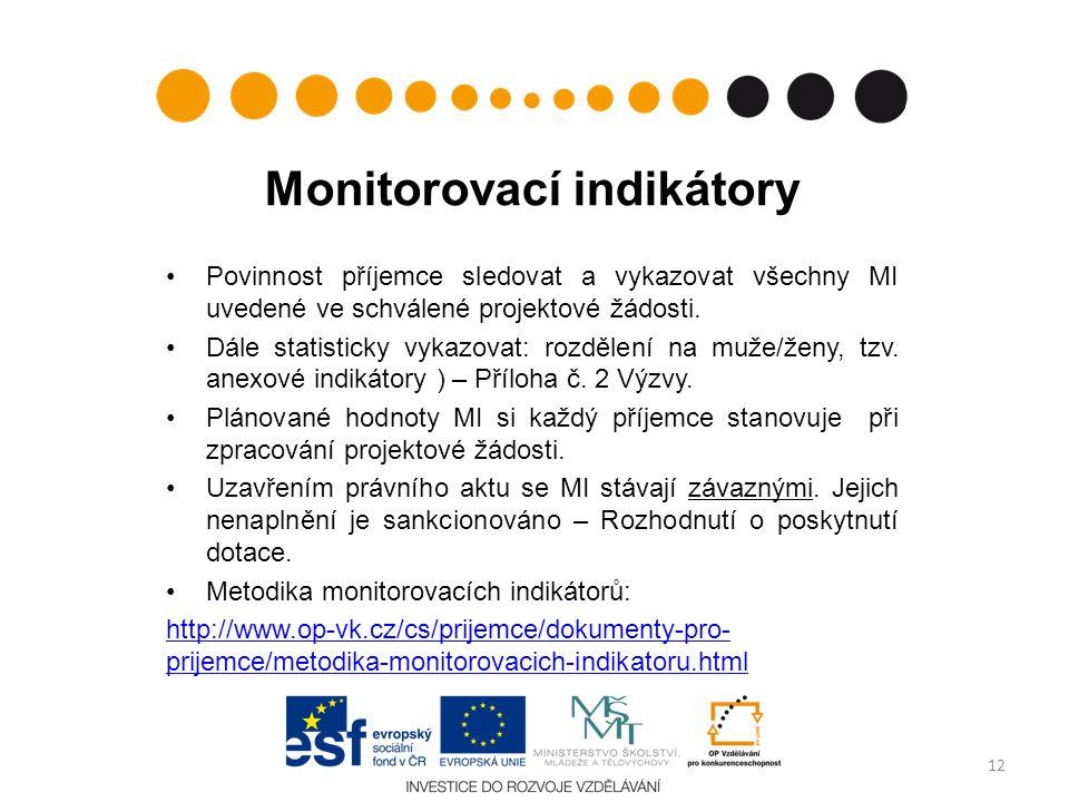Monitorovací indikátory Povinnost příjemce sledovat a vykazovat všechny MI uvedené ve schválené projektové žádosti.