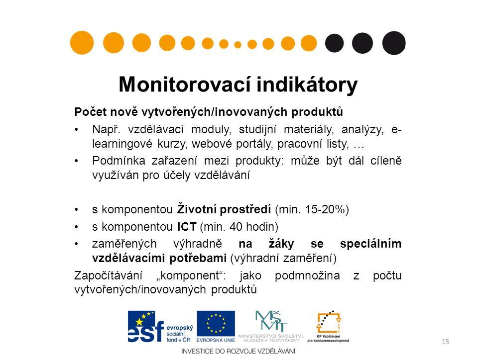 Monitorovací indikátory Počet nově vytvořených/inovovaných produktů Např.