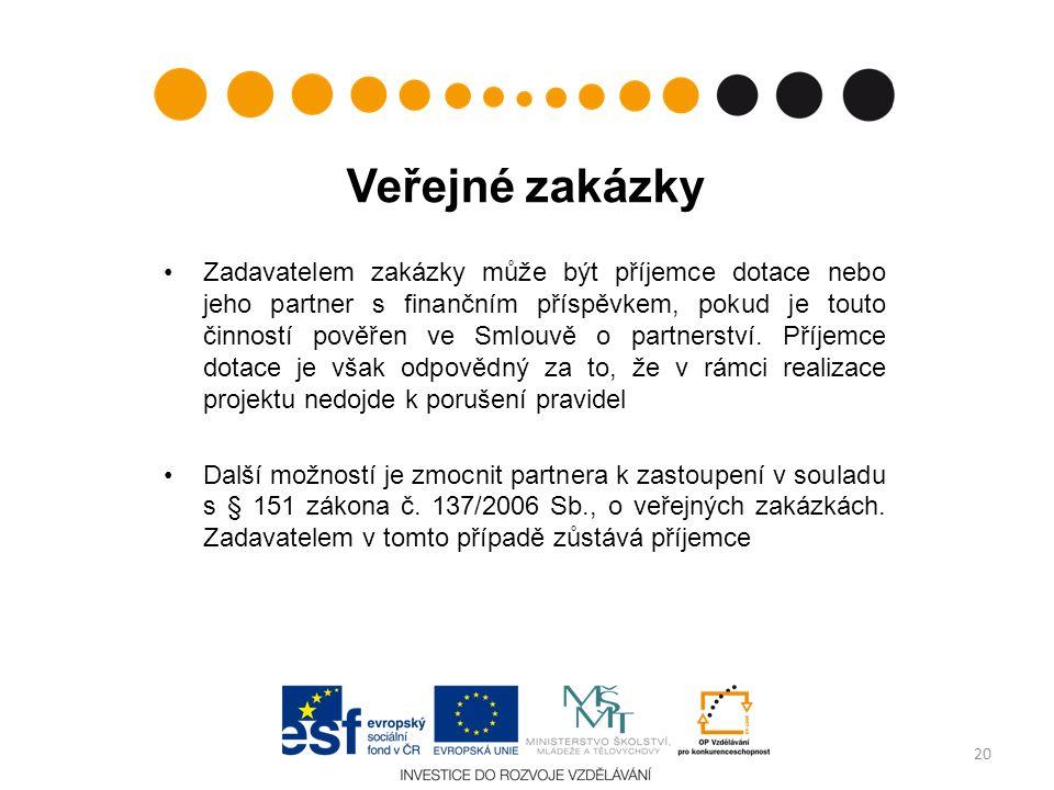 Veřejné zakázky Zadavatelem zakázky může být příjemce dotace nebo jeho partner s finančním příspěvkem, pokud je touto činností pověřen ve Smlouvě o partnerství.