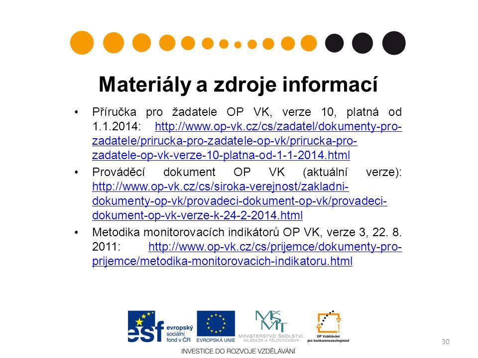 Materiály a zdroje informací Příručka pro žadatele OP VK, verze 10, platná od 1.1.2014: http://www.op-vk.cz/cs/zadatel/dokumenty-pro- zadatele/prirucka-pro-zadatele-op-vk/prirucka-pro- zadatele-op-vk-verze-10-platna-od-1-1-2014.htmlhttp://www.op-vk.cz/cs/zadatel/dokumenty-pro- zadatele/prirucka-pro-zadatele-op-vk/prirucka-pro- zadatele-op-vk-verze-10-platna-od-1-1-2014.html Prováděcí dokument OP VK (aktuální verze): http://www.op-vk.cz/cs/siroka-verejnost/zakladni- dokumenty-op-vk/provadeci-dokument-op-vk/provadeci- dokument-op-vk-verze-k-24-2-2014.html http://www.op-vk.cz/cs/siroka-verejnost/zakladni- dokumenty-op-vk/provadeci-dokument-op-vk/provadeci- dokument-op-vk-verze-k-24-2-2014.html Metodika monitorovacích indikátorů OP VK, verze 3, 22.