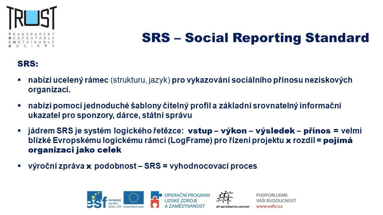 SRS – Social Reporting Standard SRS:  nabízí ucelený rámec (strukturu, jazyk) pro vykazování sociálního přínosu neziskových organizací.  nabízí pomo