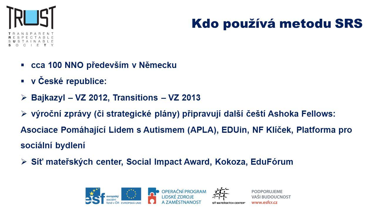 Kdo používá metodu SRS  cca 100 NNO především v Německu  v České republice:  Bajkazyl – VZ 2012, Transitions – VZ 2013  výroční zprávy (či strategické plány) připravují další čeští Ashoka Fellows: Asociace Pomáhající Lidem s Autismem (APLA), EDUin, NF Klíček, Platforma pro sociální bydlení  Síť mateřských center, Social Impact Award, Kokoza, EduFórum