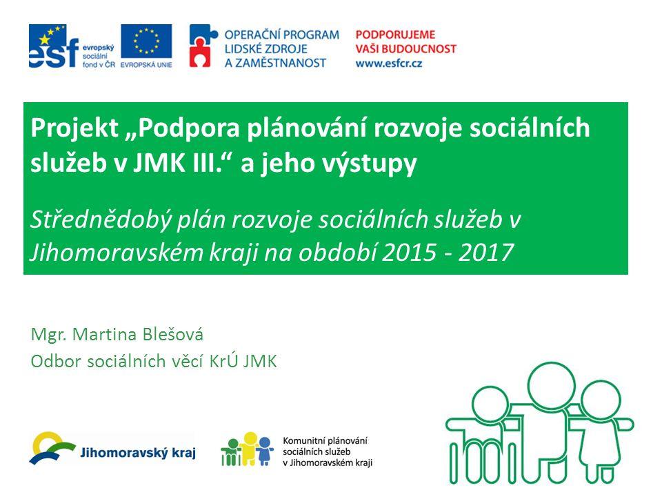 """Projekt """"Podpora plánování rozvoje sociálních služeb v JMK III. a jeho výstupy Střednědobý plán rozvoje sociálních služeb v Jihomoravském kraji na období 2015 - 2017 Mgr."""