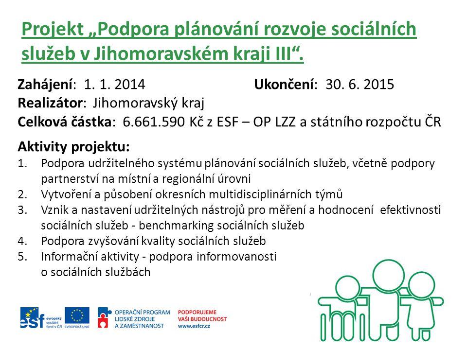 """Projekt """"Podpora plánování rozvoje sociálních služeb v Jihomoravském kraji III ."""