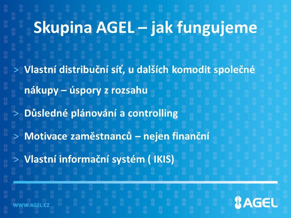 Skupina AGEL – jak fungujeme >Vlastní distribuční síť, u dalších komodit společné nákupy – úspory z rozsahu >Důsledné plánování a controlling >Motivace zaměstnanců – nejen finanční >Vlastní informační systém ( IKIS)