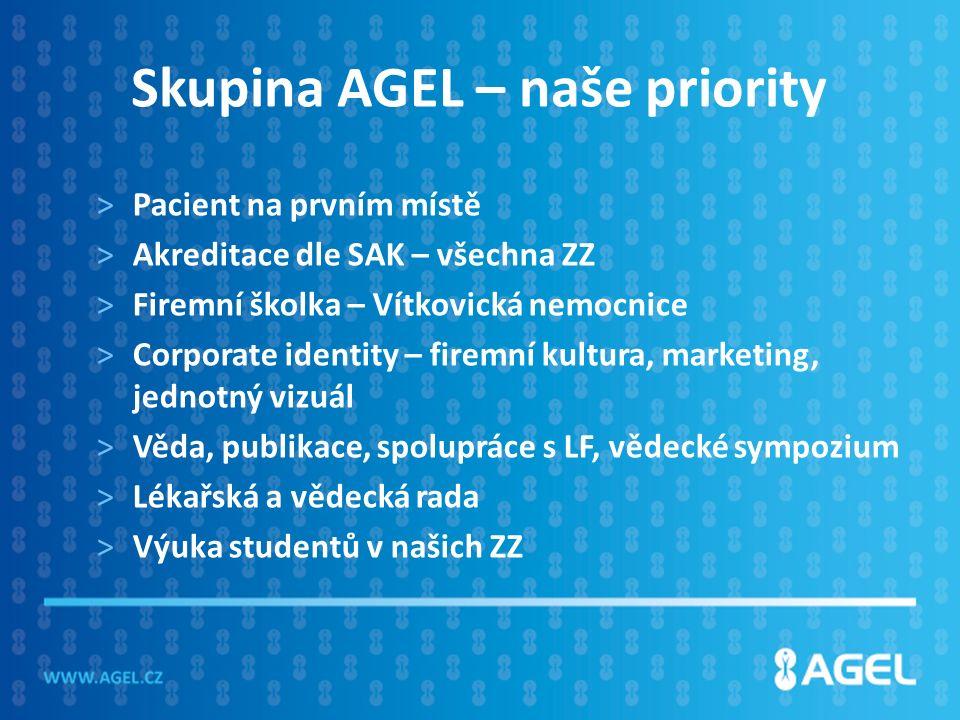 Skupina AGEL – naše priority >Pacient na prvním místě >Akreditace dle SAK – všechna ZZ >Firemní školka – Vítkovická nemocnice >Corporate identity – firemní kultura, marketing, jednotný vizuál >Věda, publikace, spolupráce s LF, vědecké sympozium >Lékařská a vědecká rada >Výuka studentů v našich ZZ