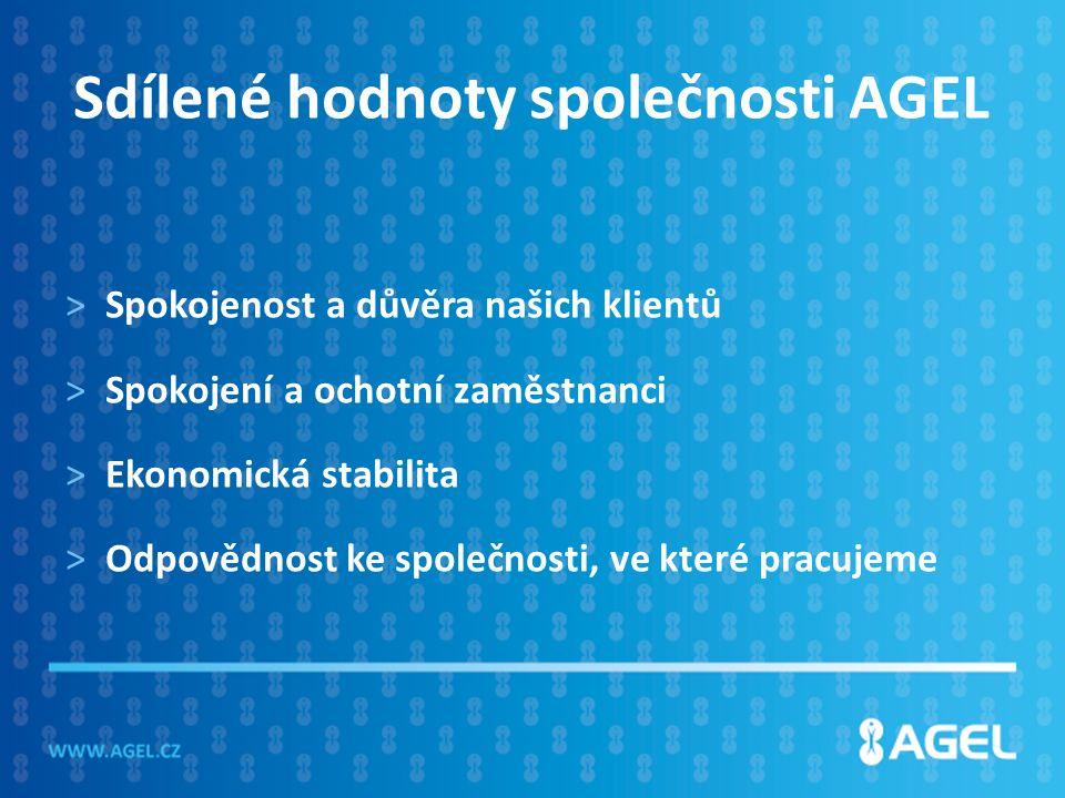 Sdílené hodnoty společnosti AGEL >Spokojenost a důvěra našich klientů >Spokojení a ochotní zaměstnanci >Ekonomická stabilita >Odpovědnost ke společnosti, ve které pracujeme