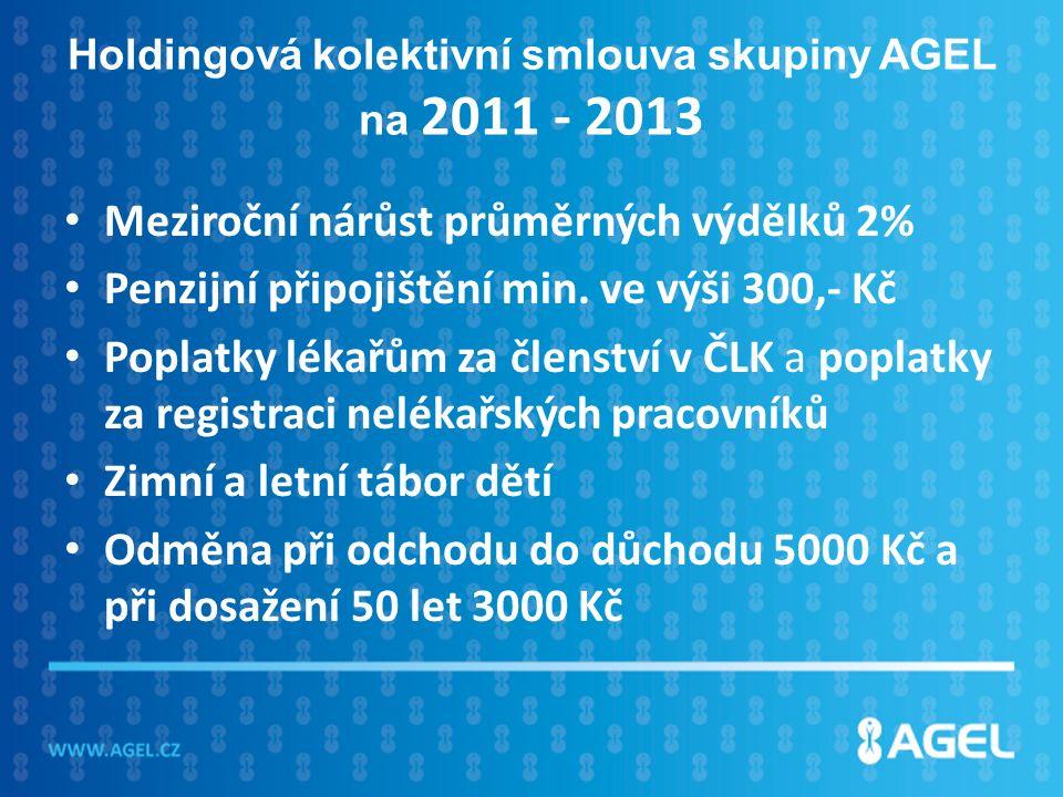 Holdingová kolektivní smlouva skupiny AGEL na 2011 - 2013 Meziroční nárůst průměrných výdělků 2% Penzijní připojištění min.