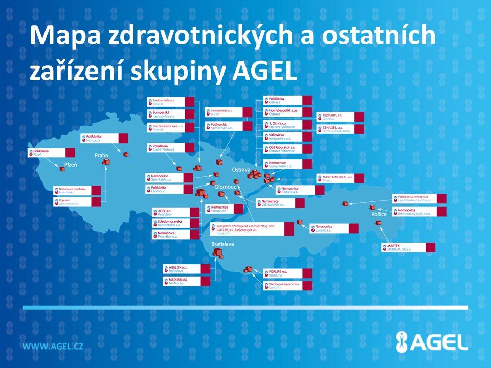 Mapa zdravotnických a ostatních zařízení skupiny AGEL