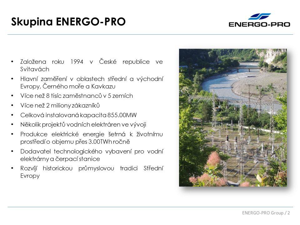 Skupina ENERGO-PRO Založena roku 1994 v České republice ve Svitavách Hlavní zaměření v oblastech střední a východní Evropy, Černého moře a Kavkazu Více než 8 tisíc zaměstnanců v 5 zemích Více než 2 miliony zákazníků Celková instalovaná kapacita 855.00MW Několik projektů vodních elektráren ve vývoji Produkce elektrické energie šetrná k životnímu prostředí o objemu přes 3.00TWh ročně Dodavatel technologického vybavení pro vodní elektrárny a čerpací stanice Rozvíjí historickou průmyslovou tradici Střední Evropy ENERGO-PRO Group / 2