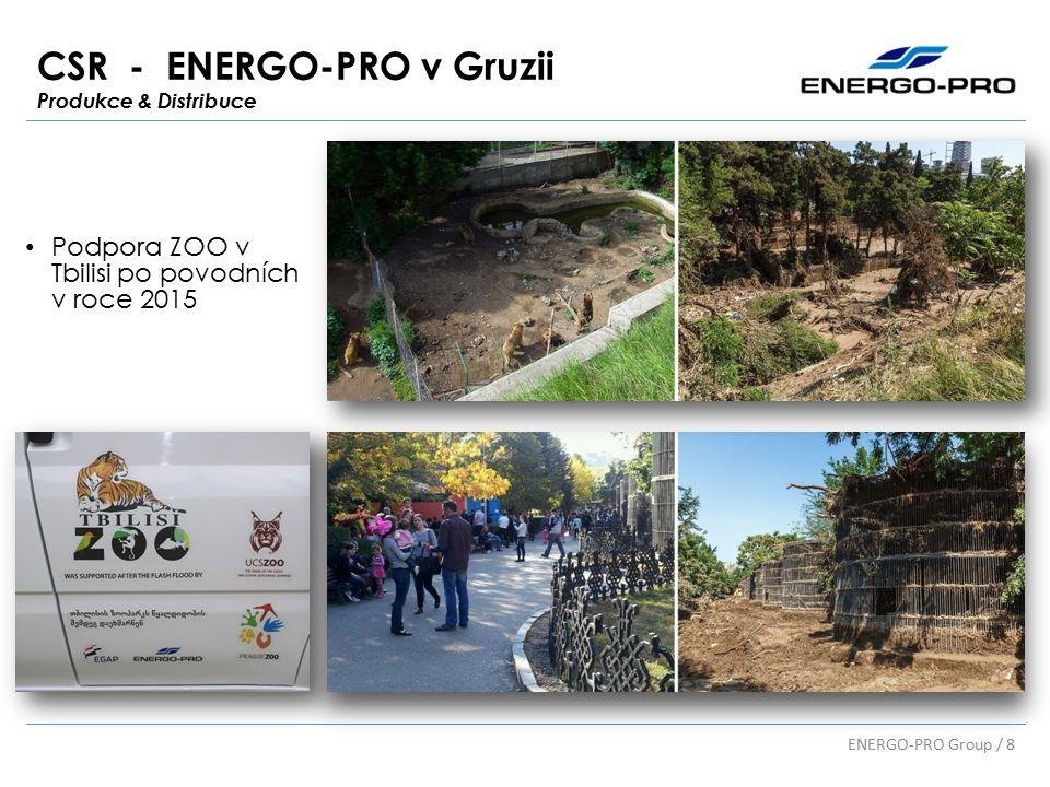 CSR - ENERGO-PRO v Gruzii Produkce & Distribuce ENERGO-PRO Group / 8 Podpora ZOO v Tbilisi po povodních v roce 2015