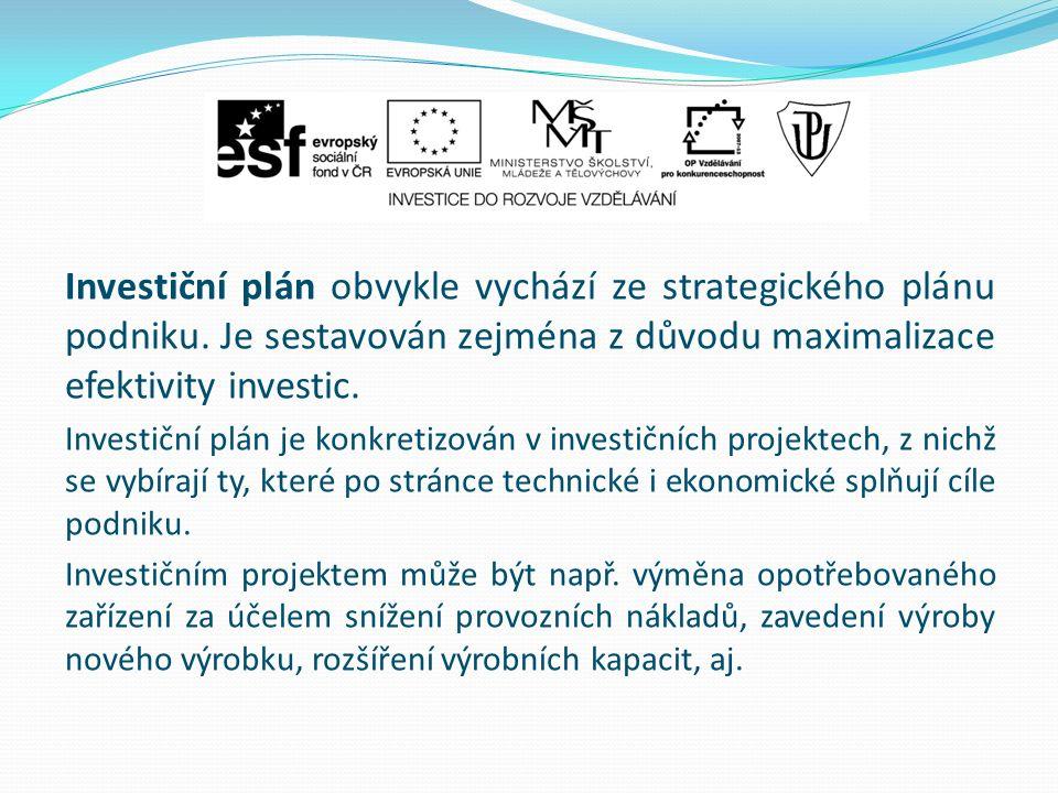 Investiční plán obvykle vychází ze strategického plánu podniku. Je sestavován zejména z důvodu maximalizace efektivity investic. Investiční plán je ko