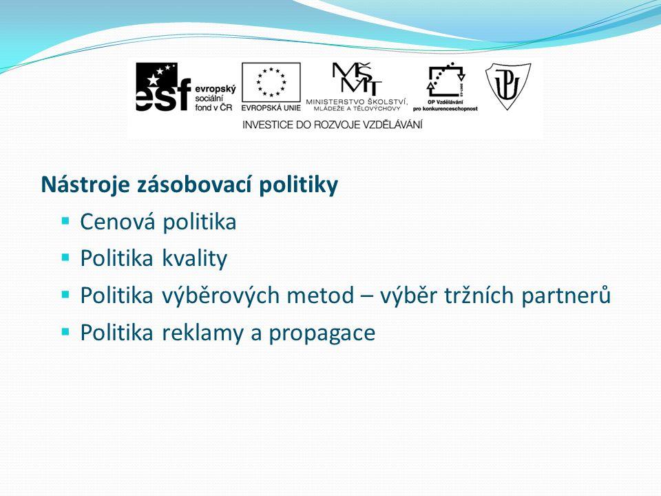 Nástroje zásobovací politiky  Cenová politika  Politika kvality  Politika výběrových metod – výběr tržních partnerů  Politika reklamy a propagace