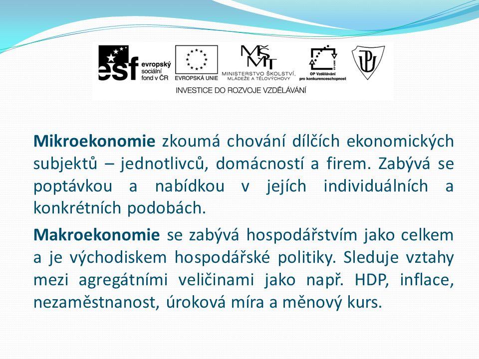 Mikroekonomie zkoumá chování dílčích ekonomických subjektů – jednotlivců, domácností a firem.