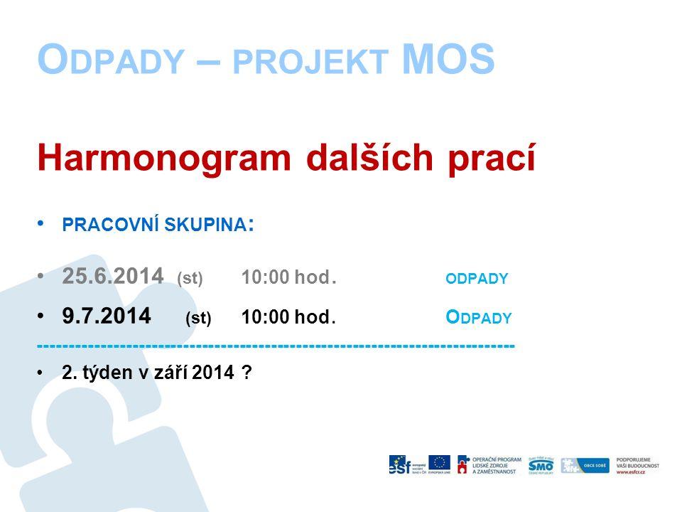 O DPADY – PROJEKT MOS Harmonogram dalších prací PRACOVNÍ SKUPINA : 25.6.2014 (st) 10:00 hod.
