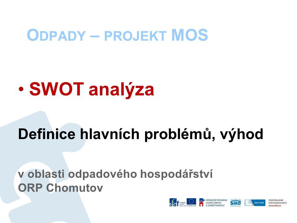 O DPADY – PROJEKT MOS SWOT analýza Definice hlavních problémů, výhod v oblasti odpadového hospodářství ORP Chomutov
