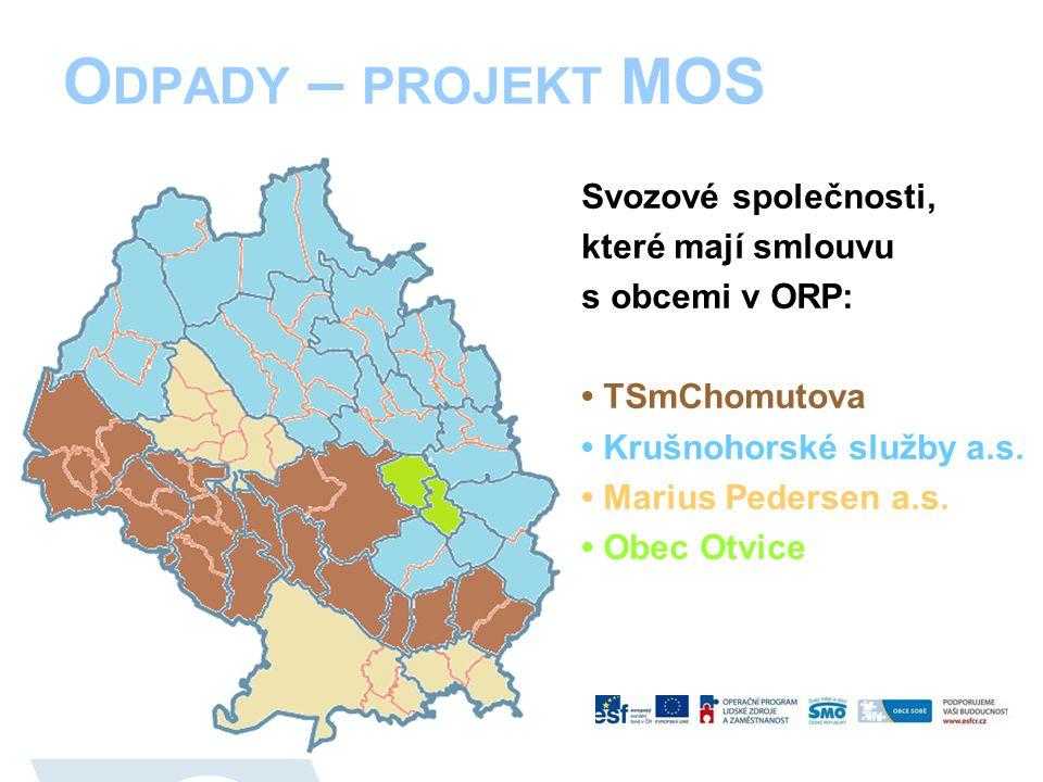 O DPADY – PROJEKT MOS Svozové společnosti, které mají smlouvu s obcemi v ORP: TSmChomutova Krušnohorské služby a.s.