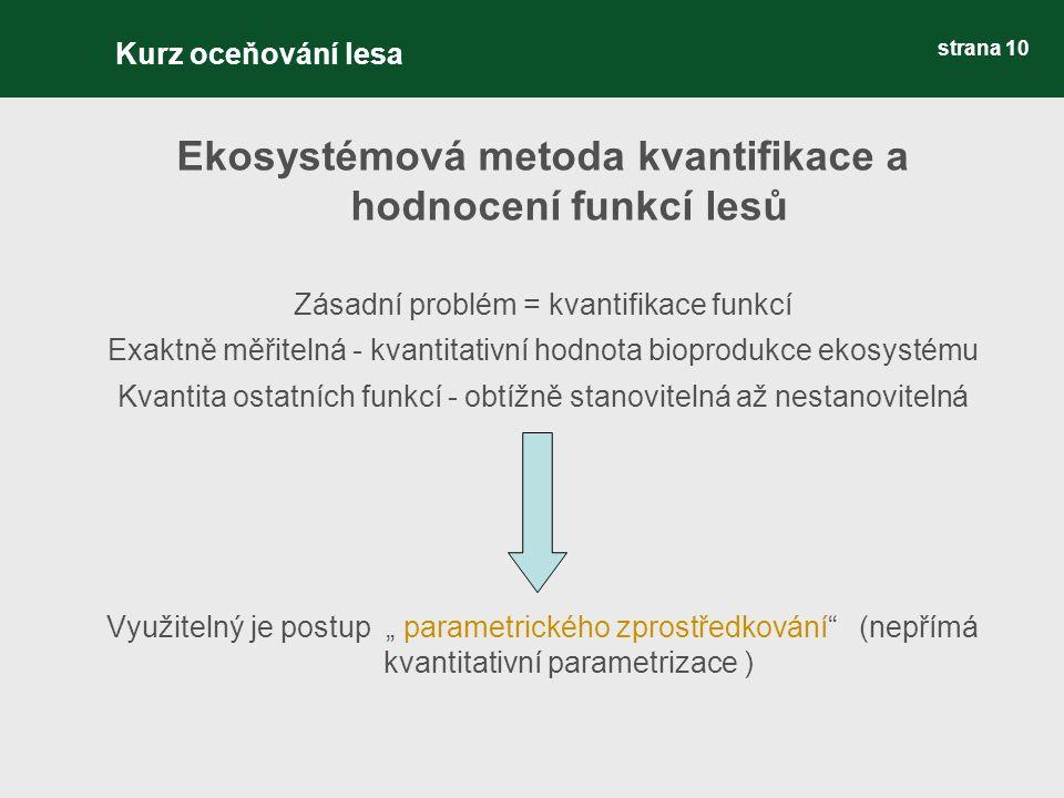 """strana 10 Ekosystémová metoda kvantifikace a hodnocení funkcí lesů Zásadní problém = kvantifikace funkcí Exaktně měřitelná - kvantitativní hodnota bioprodukce ekosystému Kvantita ostatních funkcí - obtížně stanovitelná až nestanovitelná Využitelný je postup """" parametrického zprostředkování (nepřímá kvantitativní parametrizace ) Kurz oceňování lesa"""