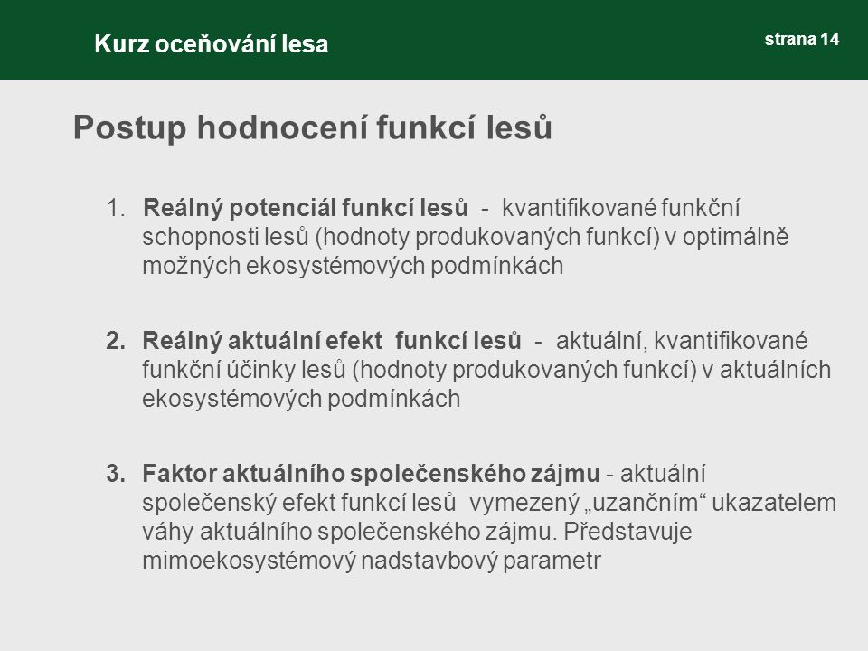"""strana 14 Postup hodnocení funkcí lesů 1.Reálný potenciál funkcí lesů - kvantifikované funkční schopnosti lesů (hodnoty produkovaných funkcí) v optimálně možných ekosystémových podmínkách 2.Reálný aktuální efekt funkcí lesů - aktuální, kvantifikované funkční účinky lesů (hodnoty produkovaných funkcí) v aktuálních ekosystémových podmínkách 3.Faktor aktuálního společenského zájmu - aktuální společenský efekt funkcí lesů vymezený """"uzančním ukazatelem váhy aktuálního společenského zájmu."""