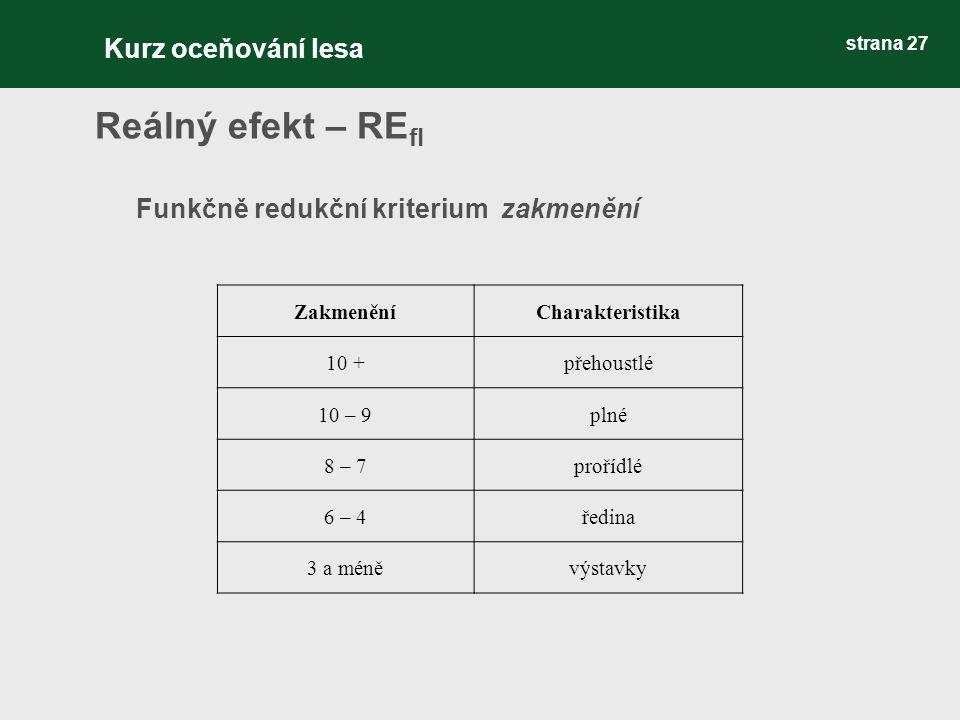 strana 27 Reálný efekt – RE fl Funkčně redukční kriterium zakmenění ZakmeněníCharakteristika 10 +přehoustlé 10 – 9plné 8 – 7prořídlé 6 – 4ředina 3 a m