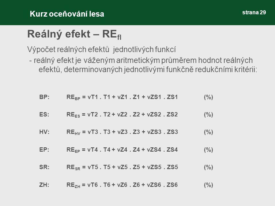 strana 29 Reálný efekt – RE fl Výpočet reálných efektů jednotlivých funkcí - reálný efekt je váženým aritmetickým průměrem hodnot reálných efektů, determinovaných jednotlivými funkčně redukčními kritérii: BP: RE BP = vT1.