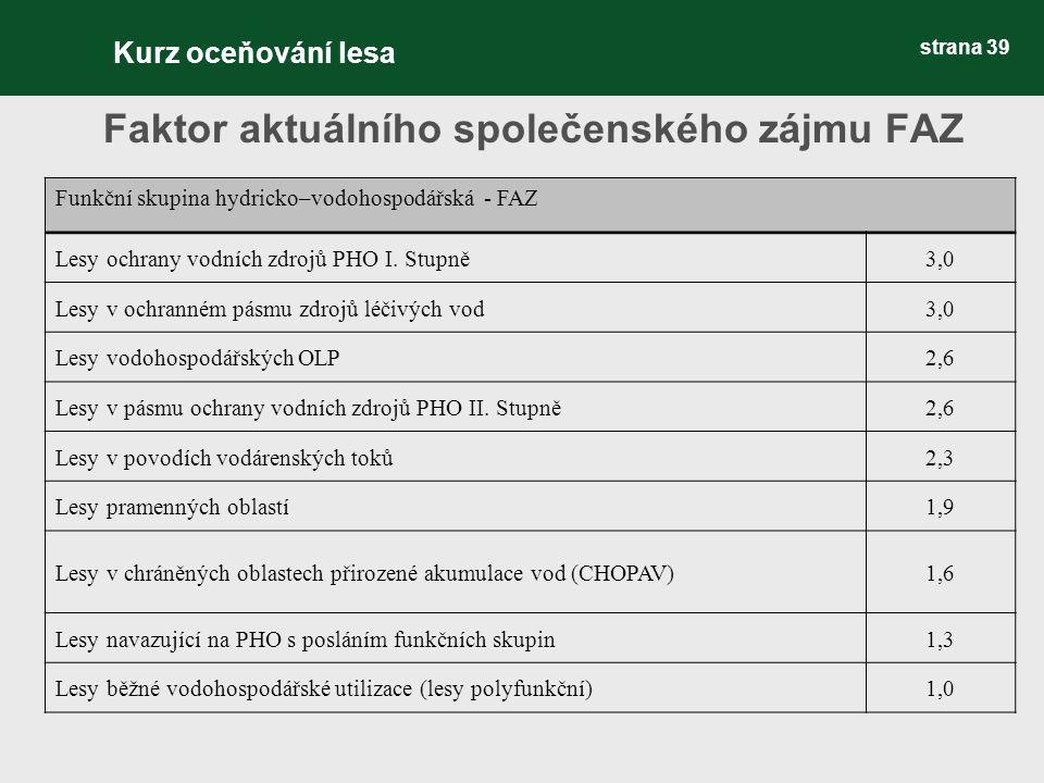 strana 39 Faktor aktuálního společenského zájmu FAZ Funkční skupina hydricko–vodohospodářská - FAZ Lesy ochrany vodních zdrojů PHO I.