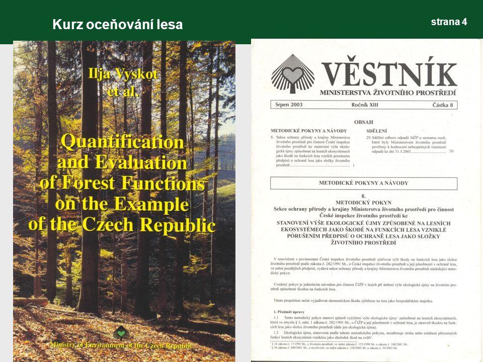 strana 5 Funkčně integrované (polyfunkční) lesní hospodářství (FILH) cílené polyfunkční obhospodařování lesů, kde všechny jimi produkované funkce vyplývající ze schopností lesního ekosystému, jsou rovnocennou součástí hospodářské struktury a lesnických činností v každé jednotce organizačního a prostorového uspořádání lesa Kurz oceňování lesa