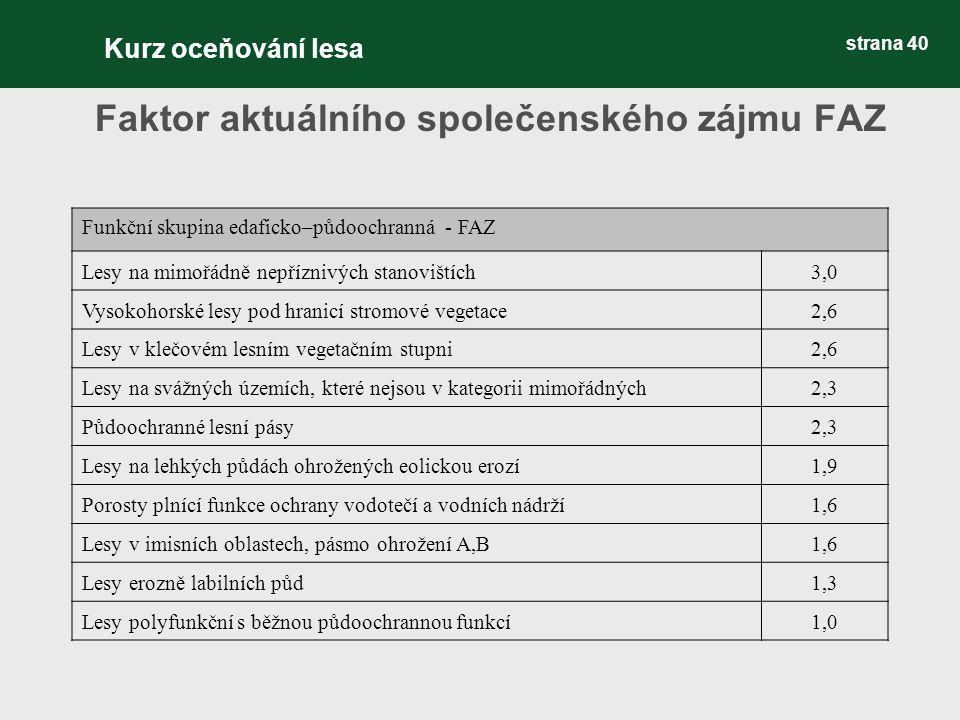 strana 40 Faktor aktuálního společenského zájmu FAZ Funkční skupina edaficko–půdoochranná - FAZ Lesy na mimořádně nepříznivých stanovištích3,0 Vysokoh