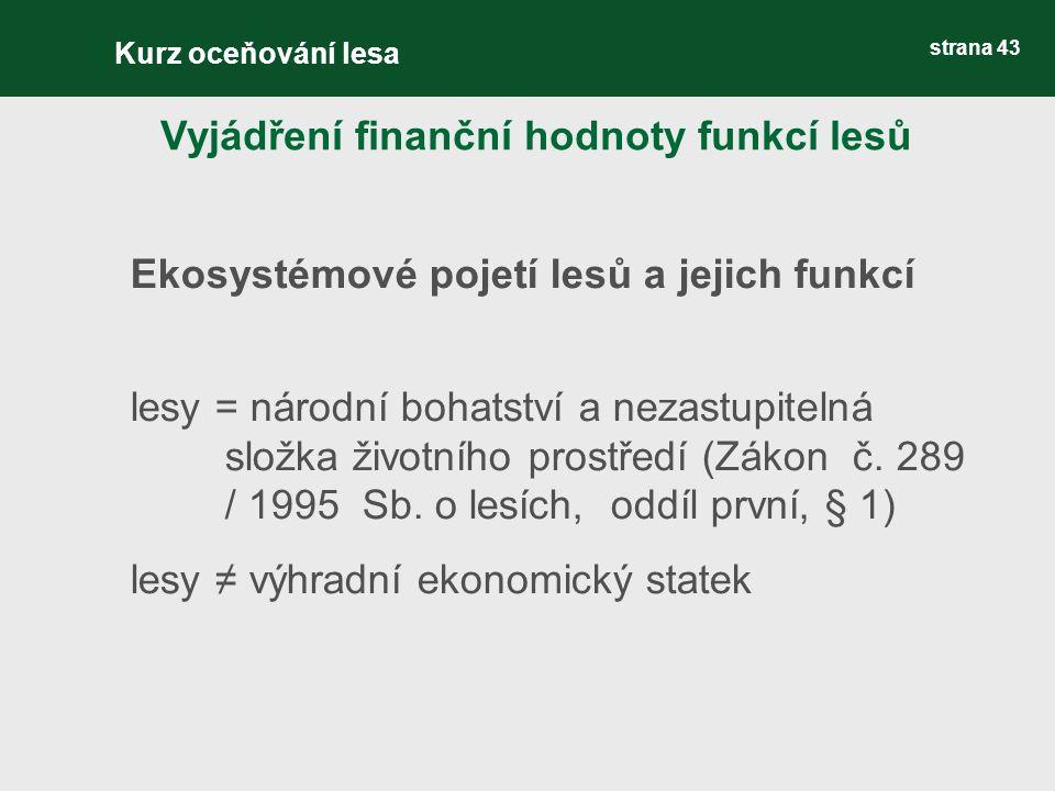 strana 43 Ekosystémové pojetí lesů a jejich funkcí lesy = národní bohatství a nezastupitelná složka životního prostředí (Zákon č. 289 / 1995 Sb. o les