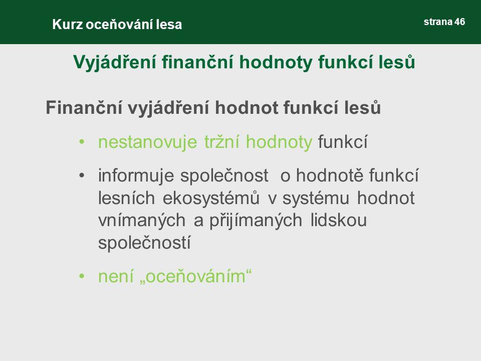"""strana 46 Finanční vyjádření hodnot funkcí lesů nestanovuje tržní hodnoty funkcí informuje společnost o hodnotě funkcí lesních ekosystémů v systému hodnot vnímaných a přijímaných lidskou společností není """"oceňováním Vyjádření finanční hodnoty funkcí lesů Kurz oceňování lesa"""