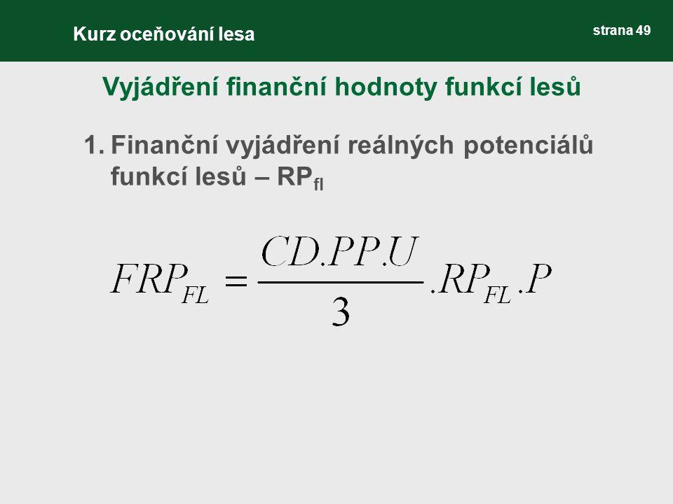 strana 49 1.Finanční vyjádření reálných potenciálů funkcí lesů – RP fl Vyjádření finanční hodnoty funkcí lesů Kurz oceňování lesa