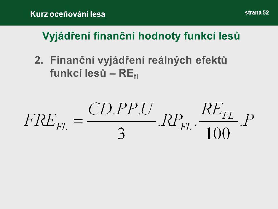 strana 52 2.Finanční vyjádření reálných efektů funkcí lesů – RE fl Vyjádření finanční hodnoty funkcí lesů Kurz oceňování lesa