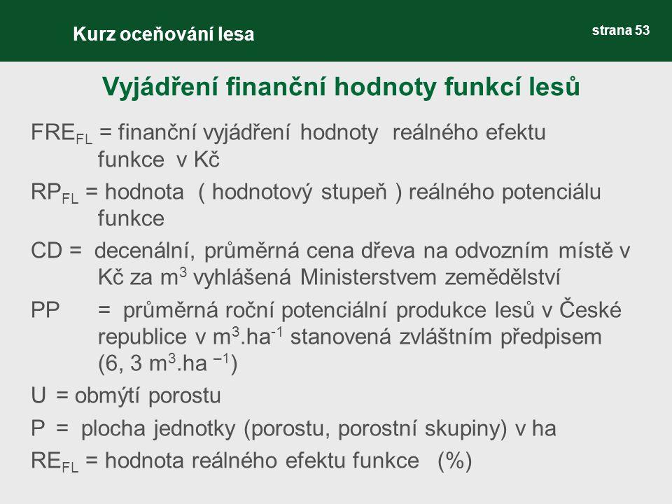 strana 53 FRE FL = finanční vyjádření hodnoty reálného efektu funkce v Kč RP FL = hodnota ( hodnotový stupeň ) reálného potenciálu funkce CD = decenální, průměrná cena dřeva na odvozním místě v Kč za m 3 vyhlášená Ministerstvem zemědělství PP= průměrná roční potenciální produkce lesů v České republice v m 3.ha -1 stanovená zvláštním předpisem (6, 3 m 3.ha –1 ) U= obmýtí porostu P = plocha jednotky (porostu, porostní skupiny) v ha RE FL = hodnota reálného efektu funkce (%) Vyjádření finanční hodnoty funkcí lesů Kurz oceňování lesa