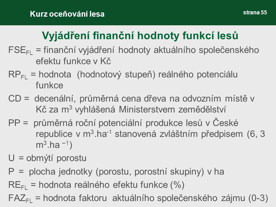 strana 55 FSE FL = finanční vyjádření hodnoty aktuálního společenského efektu funkce v Kč RP FL = hodnota (hodnotový stupeň) reálného potenciálu funkce CD = decenální, průměrná cena dřeva na odvozním místě v Kč za m 3 vyhlášená Ministerstvem zemědělství PP = průměrná roční potenciální produkce lesů v České republice v m 3.ha -1 stanovená zvláštním předpisem (6, 3 m 3.ha –1 ) U= obmýtí porostu P = plocha jednotky (porostu, porostní skupiny) v ha RE FL = hodnota reálného efektu funkce (%) FAZ FL = hodnota faktoru aktuálního společenského zájmu (0-3) Vyjádření finanční hodnoty funkcí lesů Kurz oceňování lesa