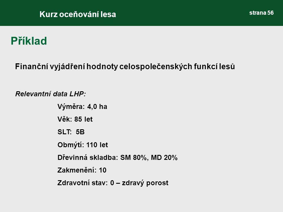 Finanční vyjádření hodnoty celospolečenských funkcí lesů Relevantní data LHP: Výměra: 4,0 ha Věk: 85 let SLT: 5B Obmýtí: 110 let Dřevinná skladba: SM